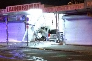 Car smashes through south Auckland laundromat