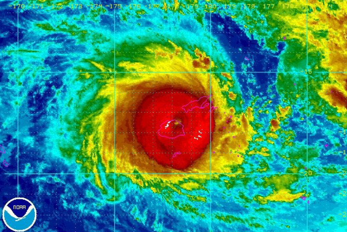 Cyclone Winston image handed out by the National Oceanic and Atmospheric Administration