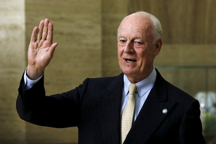 UN mediator for Syria Staffan de Mistura gestures during a news conference after a meeting with the Syrian High Negotiations Committee (HNC) during peace talks at the United Nations in Geneva, Switzerland (Reuters)