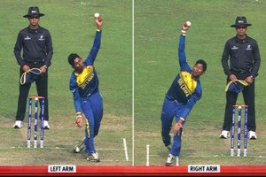Video: Spinner bowls with both arms in one over at U19 World Cup
