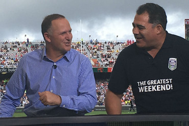 Prime Minister John Key and Australian rugby league coach Mal Meninga (Patrick Gower / Newshub)