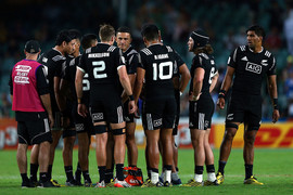 The All Blacks Sevens appear to have had eight players on the field when Rieko Ioane scored a try in the final play of the game (Getty)