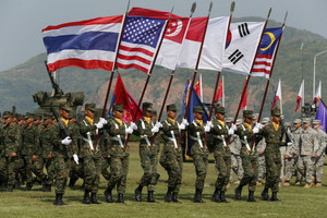 Thai soldiers participate in a parade for the Cobra Gold military exercise (Reuters)