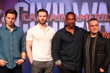 Sebastian Stan, Chris Evans, Anthony Mackie and Joe Russo (supplied)