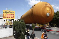The space shuttle Endeavour's external fuel tank ET-94 makes its way to the California Science Center in Exposition Park in Los Angeles, California (Reuters)