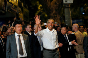 US President Barack Obama after having dinner with Anthony Bourdain in Hanoi, Vietnam (Reuters)