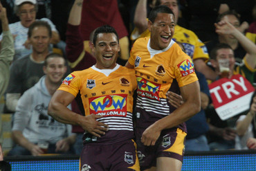 Ben Te'o and Israel Folau together at Brisbane in 2010 (AAP)