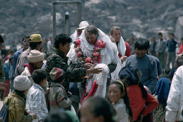 Sir Edmund Hillary welcomed in Kunde where the Himalayan Trust built their first school and hospital in the Everest region 1953 (Getty)