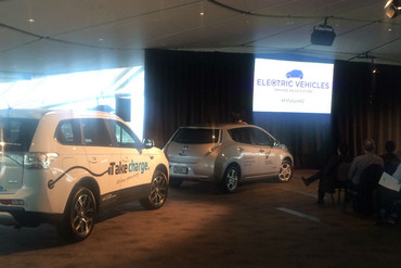Electric Vehicles on display at the announcement today (Nina Burton / Newshub)