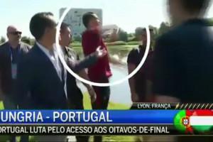 Video: Ronaldo hurls microphone into lake