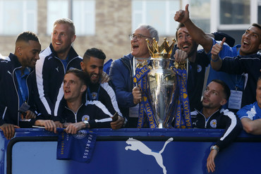 Leicester players during parade in May (Reuters)