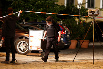 Police inspect the scene of the bomb attack in Ansbach, Germany (Reuters)