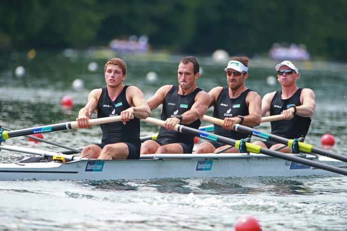 New Zealand men's four, Anthony Allen, Patrick Mcinnes, Axel Dickinson and Drikus Conradie (Photosport)