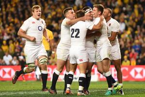 England celebrate a 3-0 series win over Australia (AAP)