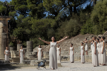 Actresses perform in front of Hera Temple in Ancient Olympia, Greece (AAP)