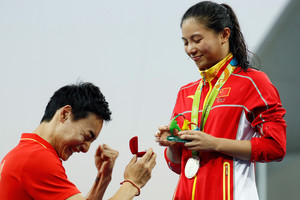 Silver turns to diamond for Chinese diver after marriage proposal
