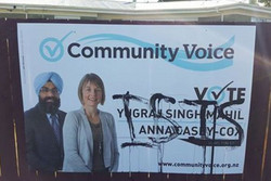 A billboard for a Hamilton Sikh city council candi...