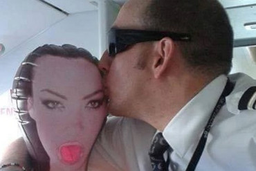 An Air New Zealand staff member shares an intimate moment with a sex toy