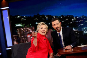 US Democratic presidential nominee Hillary Clinton tapes an appearance on the Jimmy Kimmel Show in Los Angeles, California (Reuters)