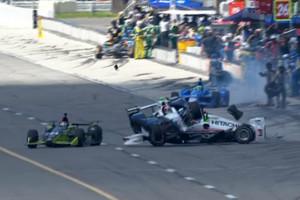Video: Terrifying pit lane crash mars Pocono IndyCar race