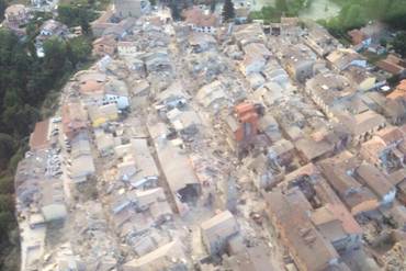 Aerial photo showing earthquake damage in Amatrice, provided by Italy's Fire Fighters