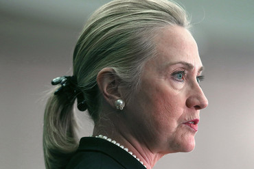 Hillary Clinton rocks a ponytail in 2012 (Getty)