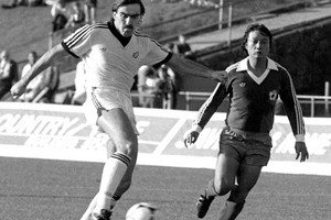 All White captain Steve Sumner has a shot on goal as New Zealand beat Taiwan (Chinese Taipei) 2-0 in an elimination game at Mt Smart Stadium for the 1982 Soccer World Cup (Photosport)