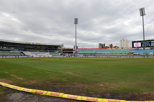 The soggy outfield at Durban's Kingsmead which allowed only one and a half day's play in the first Test between the Black Caps and South Africa (Photosport file)