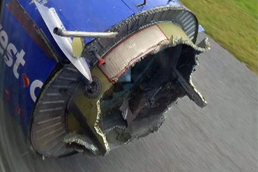 The damaged engine on the Southwest Airlines plane (Twitter)