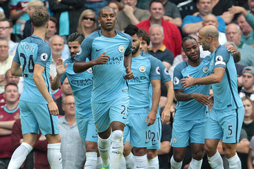 Manchester City players celebrate Raheem Sterling's first goal against West Ham (AAP Files)