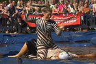 Video: Competition simmers at World Gravy Wrestling Champs