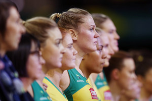 Australia players lined up for the national anthem (Getty Images)