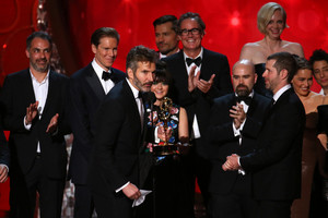 Game of Thrones producers accepting the 2016 Emmy for Oustanding Drama Series (Reuters)
