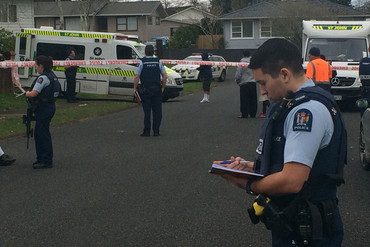 The scene at the Winsford St property following the shooting (Newshub / Tim Raethel)