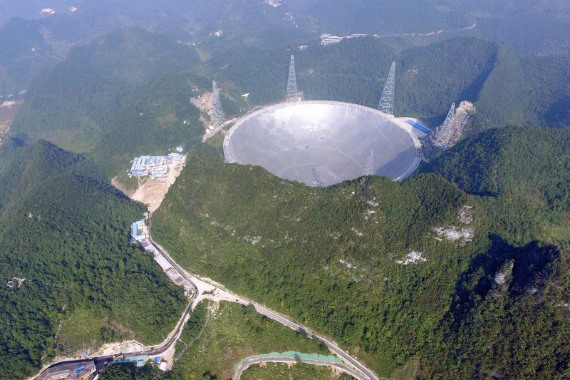 The $250 million telescope sits in a valley, surrounded by hills