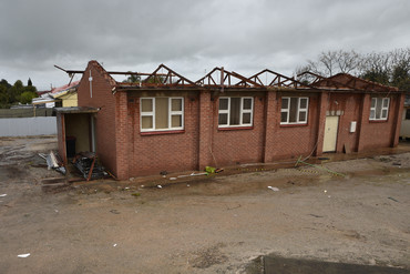 Storm damage is seen in the town of Blyth (AAP)