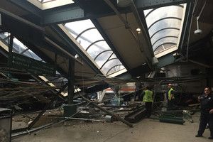 The Hoboken trian terminal destroyed by the train (Getty)