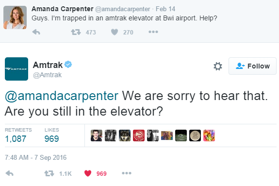 Amtrak Hilariously Flubs Response Over Stuck Elevator